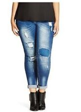 City Chic Harley Distressed Patched Skinny Jeans in Denim - Denim