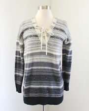 Lucky Brand Striped Lace Up Neck Sweater Size S Wool Alpaca Aztec Nordic Gray