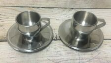 2 sets Breville Insulated Stainless Espresso Coffee Cups Saucers Cafe Roma