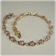 Pink Cubic Zirconia Silver Bracelet