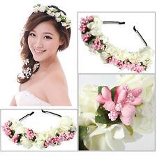 Women Flower Crown Wedding Festival Headband Hairband Floral Garland Head w/