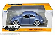 1959 VOLKSWAGEN BEETLE SATIN MATT BLUE W/BABY MOON WHEELS 1/24 BY JADA 97420