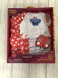 """Our Generation Snuggle Up Pug Pajamas Clothes Outfit 18"""""""