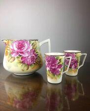 Vintage Hand Painted Floral Art Deco Nippon - Cider Pitcher & 2 Cups Mugs Set