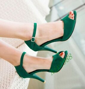 Womens New Ankle Buckle Strap High Heel Date Open Toe Faux Suede Sandals Shoes