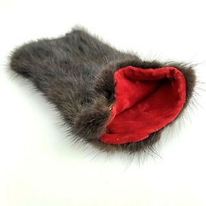 Vintage Faux Fur Sunglasses Glasses Case Pouch Red Velvet Lined Handmade
