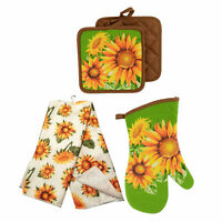 Sunflower Printed Kitchen Linens Kitchen Towel Oven Mitten Pot Holders Placemat