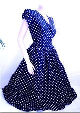 Vintage 50's style blue polka dot boho retro pin up dress plus size Medium M