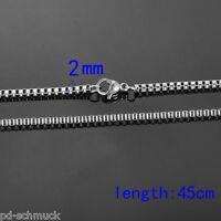 Pd:Edelstahl Venezianerkette Boxkette Silberkette Damen Herrenkette 45cm 2mm