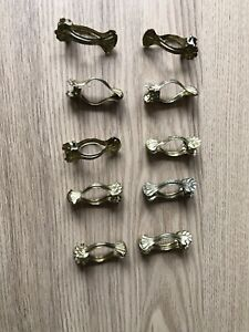 10 X Antique Style CLAM SHELL BRASS METAL CAFE LACE CURTAIN CLIPS (4 cm) PL-3650