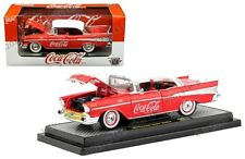 Coca-Cola Coke 1957 Chevy Bel Air Hard Top Diecast 1:24 M2 Machines 8 inch Red