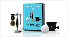 Van Der Hagen Big Blue Luxury Shave Set Safety Razor Badger Brush Soap Stand Mug