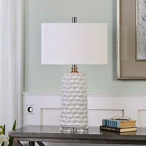 """SESIA 30"""" MODERN URBAN HONEYCOMB WHITE CERAMIC TABLE LAMP DESIGNER INSPIRED"""