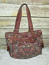 Fossil Long Live Vintage 1954 Pattern Canvas Leather Shoulder Bag Purse Tote