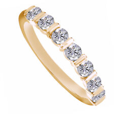 0.60 Ct Round Cut D/Vvs1 Wedding Band Ring 14K Yellow Gold 7 stone Anniversary