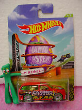 2014 Happy EASTER #4 Hot Wheels BOOM BOX suv✿Red; BLING green tires✿Egg~Walmart