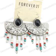 Candelabro Gypsy pendientes black/turquoise/red grano de plata tono Vintage Boho estilo fluido