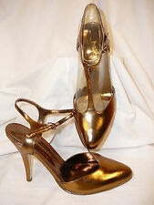 NEW IN BOX Enzo Angiolini Bronze Metallic Leather T-Strap Stiletto Heels 6M