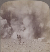 Japan Stereoview Photographer Surprised by Smoke & Steam at Crater of Asama-yama