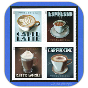 2021 EXPRESSO DRINKS Label Block of 4 different USPS Forever® Stamps  #5569-5572