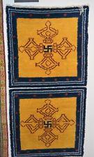 ANTIQUE TIBETAN DRAGON RUG, VAJRA c1900 TIBET, PRIMITIVE WEAVE: 27.5X56 in