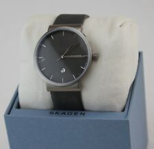 NEW AUTHENTIC SKAGEN ANCHER GUNMETAL GREY LEATHER TITANIUM MEN'S SKW6320 WATCH