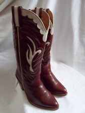R. SOLES 100% Tooled Leather Burgundy Tan & White Cowboy / Western Boots UK 3.5