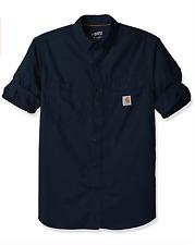 Carhartt Men's Force Ridgefield Solid Long Sleeve Shirt Navy X-Large