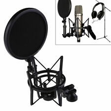 Plastic Microphone Shock Mount Stand Holder with Integrated Pop Filter Kit QC
