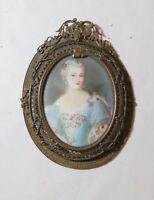 antique 1800's Victorian lady miniature portrait painting bronze filigree frame