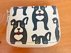 Bungalow 360 Black Dog Canvas Zip Billfold Wallet 31116-bd
