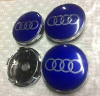 BLUE SILVER Audi Alloy Wheel Centre Caps x4 60mm 4B0601170 1 2 3 4 5 6 7 RS