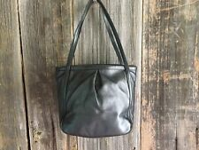 Authentic LOEWE Logos Hand Bag Pouch Black Leather Vintage Bag