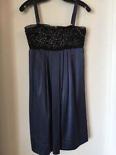 BCBG MAXAZRIA Beaded Silk Dress Navy Blue Size 2