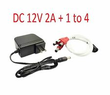 Security AC/DC 12-Volt 2A Power Adapter Supply and 1 to 4 Power Splitter Cable