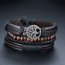 for Men Vintage Wrist Band Charm Wide Bangle Set Braided Wrap Leather Bracelets