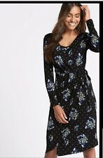 M&S Ladies Floral Print Asymmetric Wrap stretchy Midi Dress BLACK size 18 BNWT