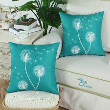 2Pcs Cushion Covers Throw Pillows Case Teal Dandelion Print Sofa Decor 45 x 45cm