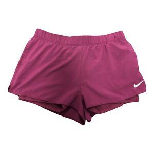 Nike Dri Fit Running Athletic Shorts With Athletic Under Short Burgundy WM - XL