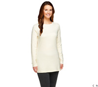 Isaac Mizrahi Live! Essentials Long Sleeve Knit Tunic Size S Cream Color
