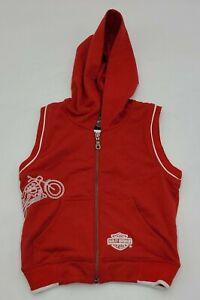 Harley Davidson Womens Red Hooded Sleeveless Sweater Size 6 Zip Motorcycle Logo