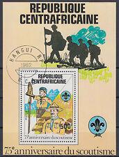Zentralafrikanische Republik Block 163 75 Jahre Pfadfinderbewegung gestempelt