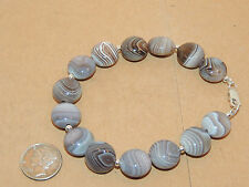 "Sterling Silver and 13x8mm Botswana Agate Bracelet 8 1/2 "" (11253)"