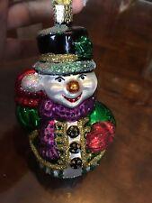 OLD WORLD CHRISTMAS GLITTERING SNOWMAN GLASS ORNAMENT