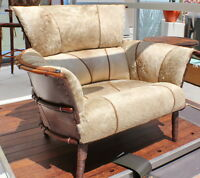 """44"""" W club chair light beige brindle leather exotic wood frame hand made unique"""