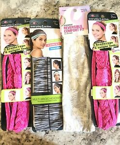 Lot of 4 Headbands Scunci and beauty 360 Brands New In Original Packages