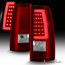 For 99-02 Silverado/99-06 Sierra Red Clear Fiber-Optic-Tube LED Tail Lights