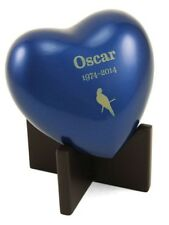 Small/Keepsake Blue Brass Arielle Heart Cremation Urn, 17 cubic inches