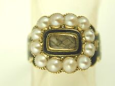 Pearl enamel mourning ring 18ct gold perfect condition Victorian 1841 size K 1/2