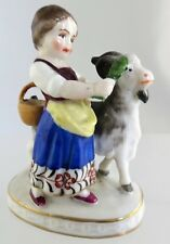 Samson Porcelain Miniature Figurine Girl with goat Pseudo Chelsea mark